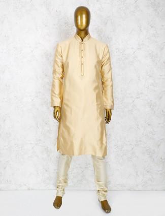 Wedding wear cream hue silk kurta suit
