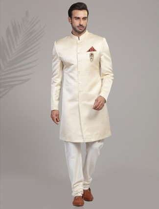 Wedding wear cream terry rayon indo western