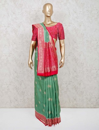 Wedding wear designer green silk saree