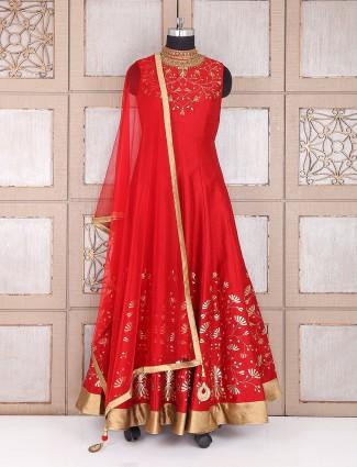 Wedding wear dressy red silk anarkali suit