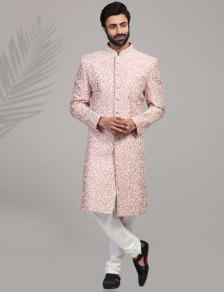 Wedding wear dusty pink silk sherwani