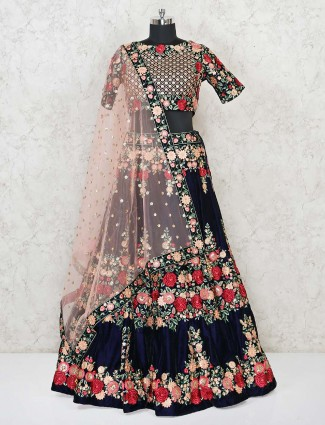 Wedding wear full embroidered navy blue lehenga with