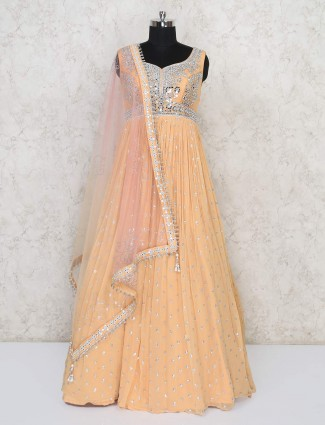 Wedding wear georgette peach gown