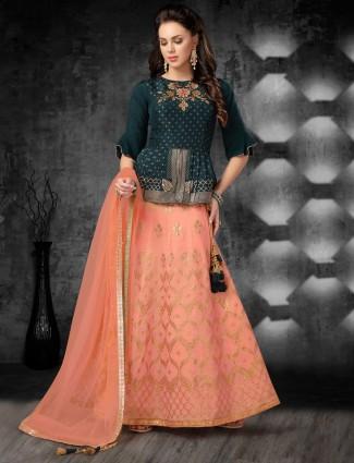 Wedding wear green and pink cotton silk lehenga choli