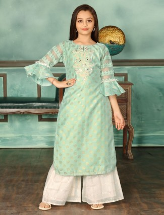 Wedding wear green cotton pallazzo suit