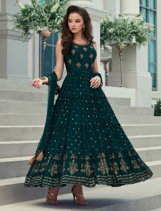 Wedding wear green georgette anarkali suit