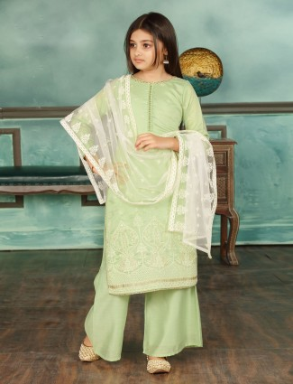 Wedding wear green punjabi palazzo suit in cotton silk
