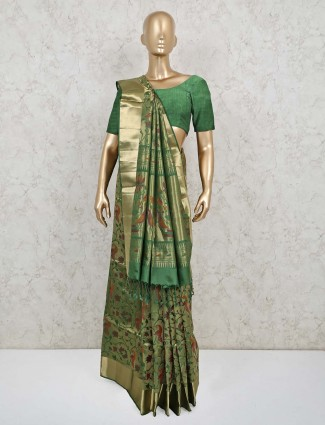 Wedding wear green pure banarasi silk saree
