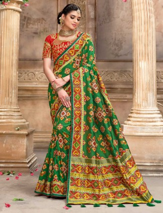 Wedding wear green pure patola silk saree