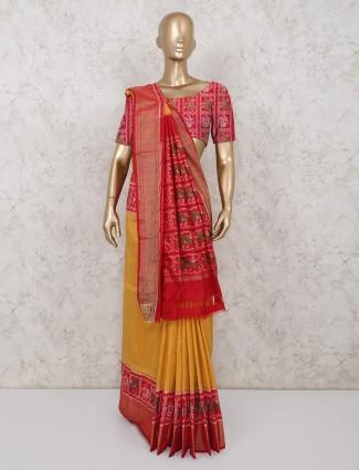 Wedding wear hydrabadi patola silk yellow saree