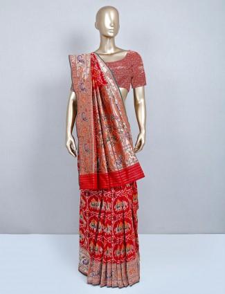 Wedding wear latest red patola silk saree