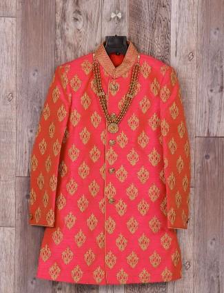 Wedding wear magenta silk indo western