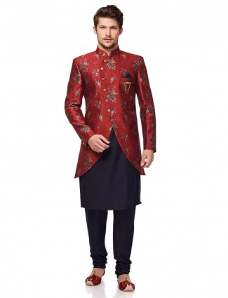 Wedding wear maroon hue indo western
