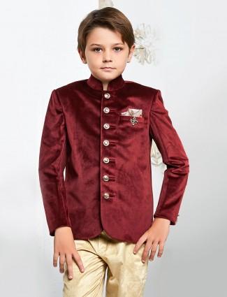 Wedding wear maroon jodhpuri blazer