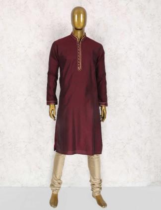 Wedding wear maroon kurta suit