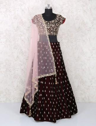 Wedding wear maroon velvet designer lehenga choli