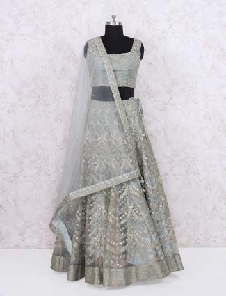 Wedding wear mint green colored lehenga choli
