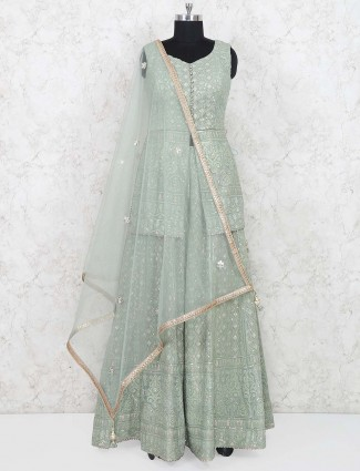 Wedding wear mint green lehenga choli