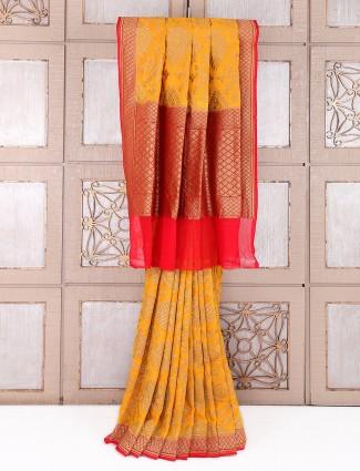 Wedding wear mustard silk saree
