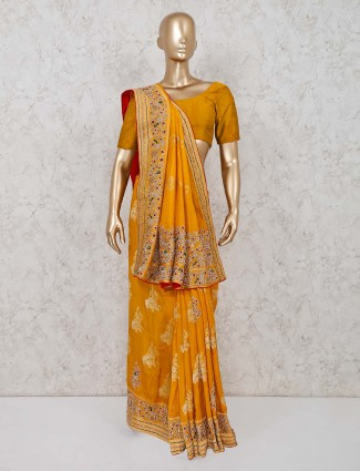 Wedding wear Mustard yellow colored dola silk saree