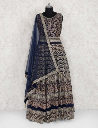 Wedding wear navy hue designer anarkali suit
