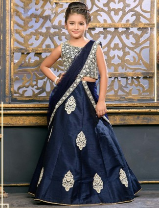 Wedding wear navy hue raw silk lehenga choli