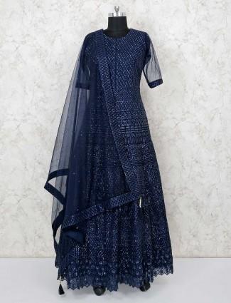 Wedding wear navy net round neck anarkali suit