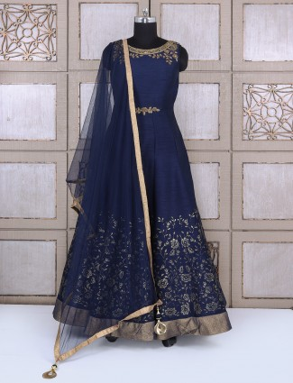 Wedding wear navy silk anarkali suit