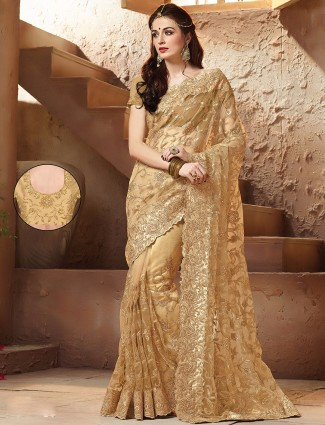 Wedding wear net gold designer sari