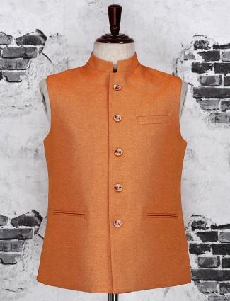 Wedding wear orange color waistcoat