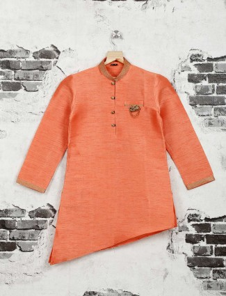 Wedding wear orange cotton silk kurta suit