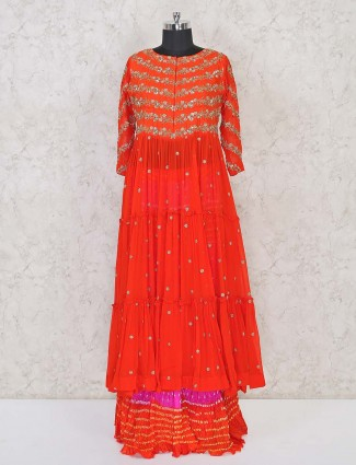 Wedding wear orange lehenga style suit