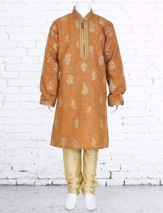 Wedding wear orange silk kurta suit