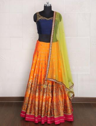 Wedding wear orange silk lehenga choli