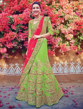 Bridal parrot green silk lehenga saree