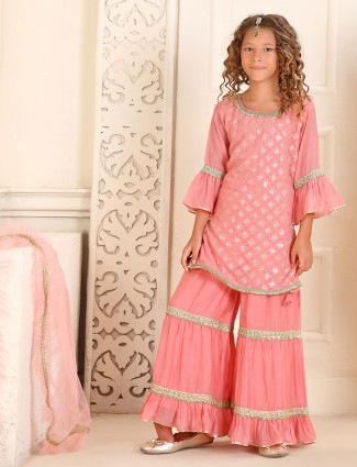 Wedding wear peach cotton punjabi sharara suit