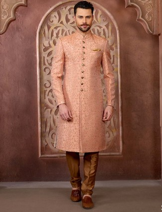 Wedding wear peach embroidered sherwani