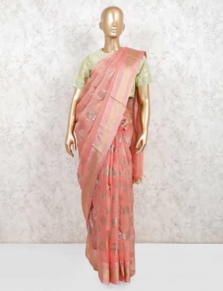 Wedding wear peach readymade blouse organza tissue silk saree
