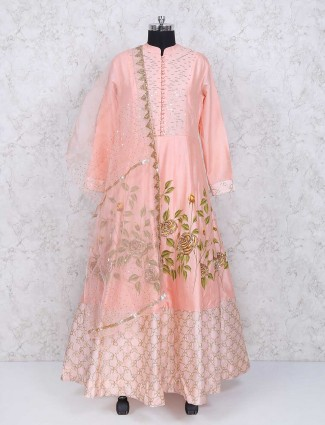 Wedding wear pink anarkali suit