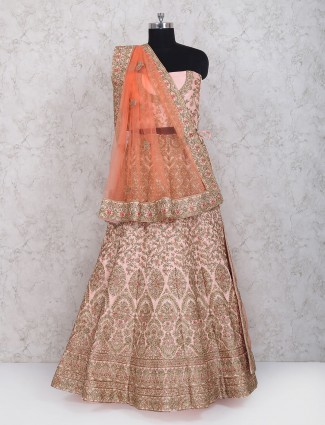 Wedding wear pink color exclusive silk lehenga choli