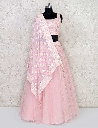 Wedding wear pink georgette and net lehenga choli