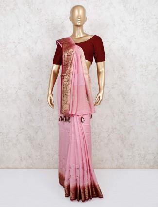 Wedding wear pink handloom cotton saree