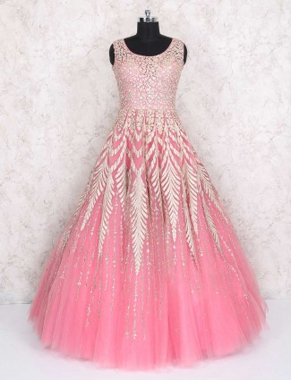Wedding wear pink net gown