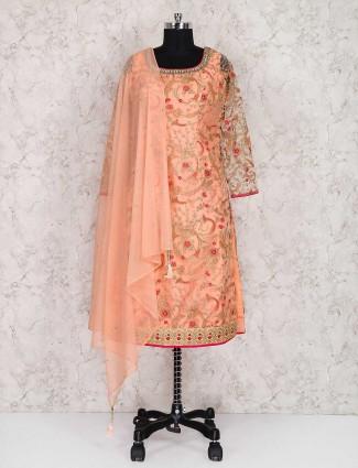 Wedding wear punjabi peach color salwar suit