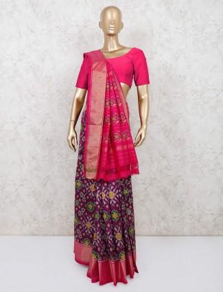 Wedding wear purple patola silk saree for women