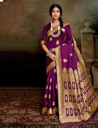 Wedding wear Purple saree in handloom banarasi silk