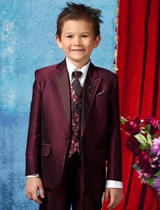 Wedding wear purple terry rayon boys 3 piece coat suit