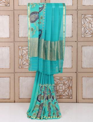 Wedding wear rama green color saree