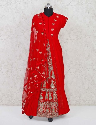 Wedding wear red anarkali suit in silk