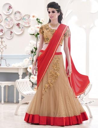 Wedding wear red beige colored ready to wear one minute lycra lehenga sari